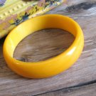 Butterscotch Yellow Bakelite Bangle Bracelet Vintage Retro Fashion Jewelry Wide