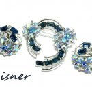 Vintage Blue Rhinestone Earrings Brooch Pin Lisner Designer Fashion Jewelry Formal Evening Bridal