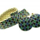 Vintage 80&#39;s Bracelet Earring Snakeskin Diamond Black Green Blue Enamel Retro Mod Disco Fashion