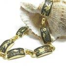 Damasquinado De Toledo Gold Plated Bracelet Vintage Renassance Book Chain Ornate Bird 1987