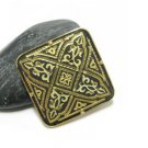 Damasquinado De Toledo Gold Plated Brooch Pin 24K Ornate Arabic Geometric Renaissance Signed 1987
