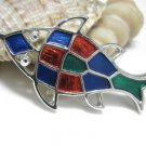 Sarah Coventry Jewelfish Fish Necklace Pendant Colorful Enamel Vintage Mosaic Jewelry 1972 Designer