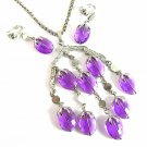 Purple Dangle Necklace Earrings Vintage Sarah Coventry Wisteria Lavender Silver 70s Designer Jewelry