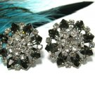 Vintage Vogue Rhinestone Earrings Bling Big Bold Designer Retro Black Clear Marquise