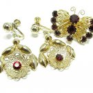 Delma Vintage Earrings Flower Butterfly Brooch Gold Ruby Red Rhinestone Art Deco Designer Jewelry