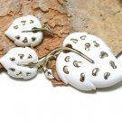 Sarah Coventry White Leaf Brooch Pin Earrings Gold 1970s Retro Mod Jewelry