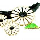 Daisy Flower Brooch Earrings Vintage Enamel White Black Gold Retro Mod Fashion Jewelry