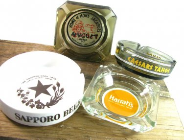Vintage Casino Ashtrays Collectibles Caesars Tahoe Nugget Harrahs Sapporo Beer