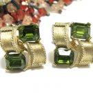 Green Rhinestone Earrings Lisner Vintage Designer Gold Emerald Cut Screw Back Retro Jewelry