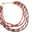 Lisner Vintage Bib Necklace Raspberry Cranberry Oval Tube Beads 4 Strand Designer Retro Mod