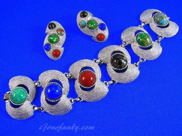 Chunky Silver Bracelet Earrings Sarah Coventry Large Cabachon Stone 60s Retro Mod Designer Fashion