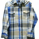 Wrangler Pearl Snap Shirt Mens Vintage Western Plaid 16 34 Long Tan Blue Rockabilly Hipster