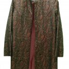 Misses Kimono Jacket Coat Vintage 6 Paisley Black Burgundy Gold Metallic Thread Asian Long Ethnic