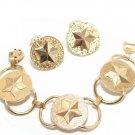 Vintage Star Bracelet Earrings Military Brass Sarah Coventry Gold Patriotic American 60s Designer