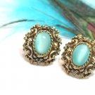Vintage Aqua Moonglow Earrings Coventry Antique Gold Rhinestone 70s Designer Jewelry Czarina