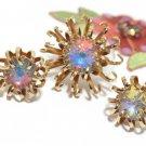 Huge Rivoli Rhinestone Brooch Earrings 60s Coventry Opalescent Gold Mod Flower Designer Jewelry Set