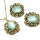 Aqua Moonstone Necklace Earrings Vintage Antique Gold Coventry Designer Jewelry Set Retro Mod 70s