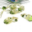 Sarah Coventry Brooch Earrings Green Gold Ornate Large Glass Stones Elegance 1970s Mod Jewelry Set