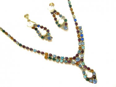 Colorful Rhinestone Necklace Earrings Vintage La Rel Milk Glass Gold Ruby Aqua Blue Topaz Jewelry