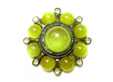 Green Moonstone Hat Lapel Pin Pomerantz Vintage Rhinestone Antique Silver Chunky Designer Jewelry