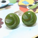 Carved Bakelite Earrings Green Button Screwback Vintage 1940s Jewelry Collectible Plastic