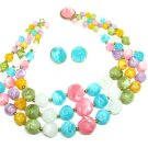 Kramer Vintage Necklace Earrings Large Chunky Bead Yellow Pink Purple Green Aqua Designer Jewelry