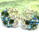 Lisner Rhinestone Earrings Green Gold Large Bling Flower Evening Prom Formal Designer