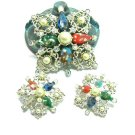 Sarah Coventry Abstract Brooch Earrings Comet Blue Red Aqua Pearl Rhinestone 60s Renaissance Fashion