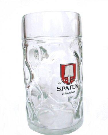 Spaten Miinchen Beer Pitcher Austria Germany Vintage 1 Litre Glass Thumbprint Barware Red Black Logo