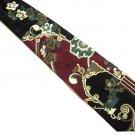 Albert Nipon Silk Necktie Mens Tie Black Flower Modern Classic Scroll X Long 65 Inch