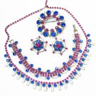 Vintage Rhinestone Necklace Earrings Bracelet Pin Weiss Full Parure Pink Blue Designer Jewelry
