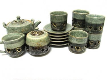 Somayaki Aohibi Saki Set Tea Cups Sugar Creamer Saucers Horse Japan 1960s Pottery