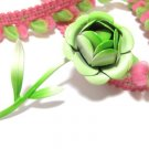 Lime Green Flower Brooch Pin Enamel Vintage Rose Bud Lapel Hat Retro Mod Hipster Jewelry