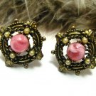 Vintage Victorian Gothic Earrings Modern Renaissance Antique Gold Pink Cab Pearl Screw Back
