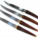 Bakelite Handle Knives Serrated Blade Steak Dinner Vegetable Sheffield Lifetime Lot 4 Brown Stag