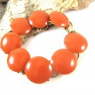 Orange Pumpkin Bakelite Bracelet Button Links Gold Vintage Discs Retro Mod Vintage Jewelry 6 3/4