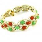 Colorful Vintage Bracelet Sarah Coventry Acapulco Carnelian Jade Gold Beads Retro Mod 60s Jewelry