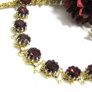 Ruby Red Rhinestone Vintage Bracelet Lisner Chaton Faceted Gold Bookchain Designer Fashion Jewelry