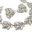 Kramer Gray Thermoset Rhinestone Necklace Earrings Vintage Gold Choker Clip On Retro Mod Jewelry
