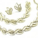 Textured Leaf Petal Necklace Earrings Bracelet West Germany Vintage Gold Aluminum Retro Jewelry Set