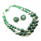 Kramer Green Confetti Bead Necklace Earrings Glitter Nugget Pearl Double Strand Retro Mod 50s