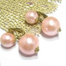 Vintage Vogue NY Earrings Bobble Pink Pearl Bead Gold Retro Mod Designer Jewelry Large