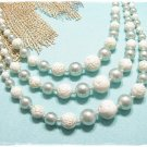 Aqua Blue Pearl Bead Necklace 3 Strand Carved White Rose Beads Vintage Japan 40s