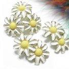Daisy Sunflower Brooch Earrings Kramer Vintage Pin Jewelry White Enamel Gold Retro Fashion 50s