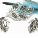 Kramer Smoke Gray Rhinestone Leaf Brooch Earrings Vintage Marquise Silver Prom Bridal Jewelry