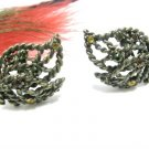 Vintage Avon Earrings Antique Gold Mod Leaf Rhinestone Clip On Amber Green Pink Retro Funky