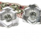 1950s Clip Earrings Silver Flower Black Diamond Rhinestone Rhodium Sarah Coventry Blossom