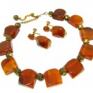 Chunky Bakelite Necklace Earrings Tortoise Root Beer Amber Rose Beads Screw Back Set