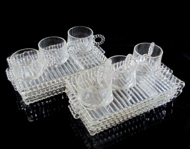 Hazel Atlas Snack Set Boopie Orchard Lunch Beads Ribs 6 Plates Cups Beaded Glass 1950s