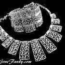 Coventry Bold Silver Bib Necklace Bracelet Ornate Cleopatra Retro Mod Jewelry Set 1961
